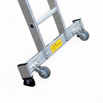 Aluminium-Seilzugleiter 3-teilig mit /´roll-bar/´-Traverse 3 x 16 Sprossen 22516