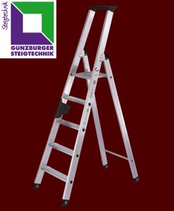 Günzburger Aluminium-Stufenleitern einseitig begehbar